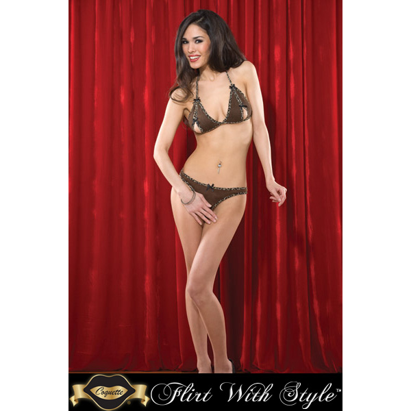Coquette Lingerie Peek-A-Boo Bikini Top With Crotchless Panty