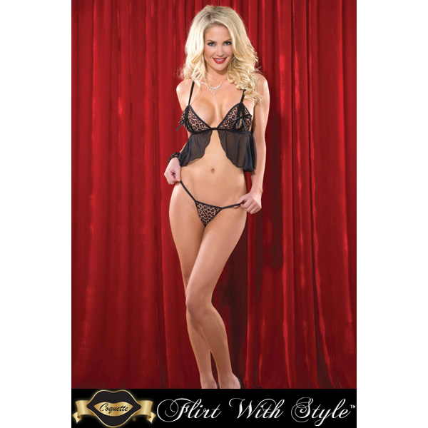Coquette Lingerie Printed Knit Babydoll & G-String