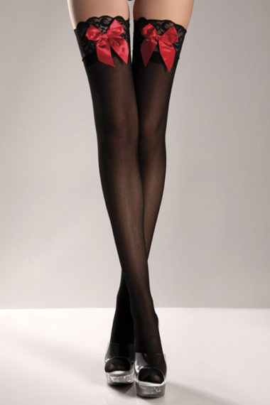 Be Wicked Sheer Lace-Top Thigh Highs With Bow