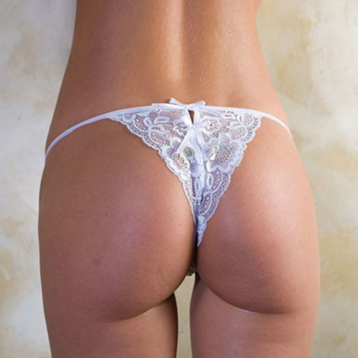 iCollection Lingerie Glitzy Lace Open Crotch Thong