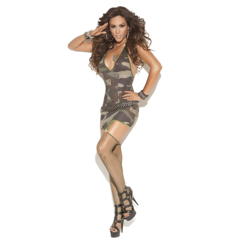 Elegant Moments Camo Mini Dress With Garters