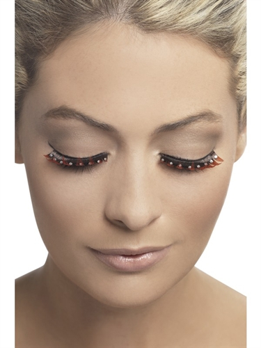 Fever Lingerie Eyelashes Diamante Red & Black