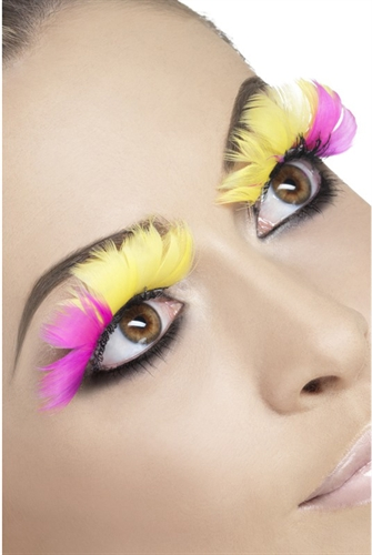Fever Lingerie Eyelashes Feather Pink & Yellow