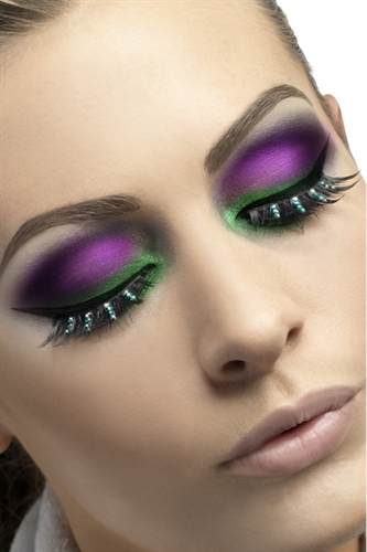 Fever Lingerie Eyelashes Green Diamante Black
