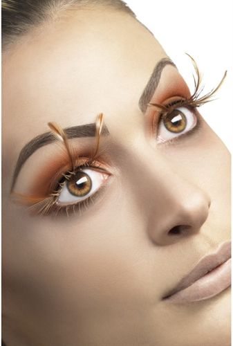 Fever Lingerie Eyelashes Long Feather Brown