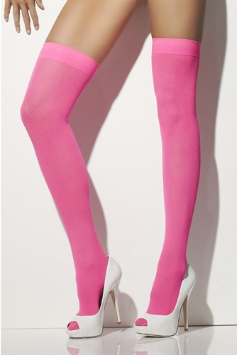 Fever Lingerie Opaque Hold-Ups Neon Pink