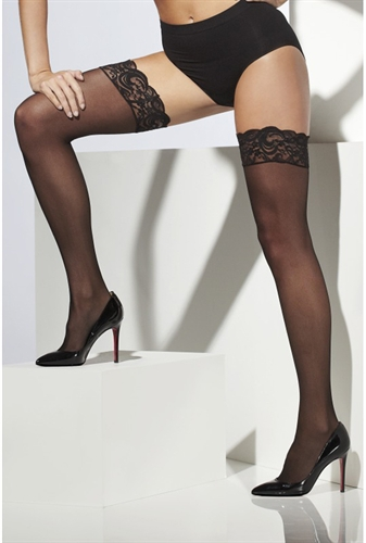 Fever Lingerie Sheer Hold-Ups Black