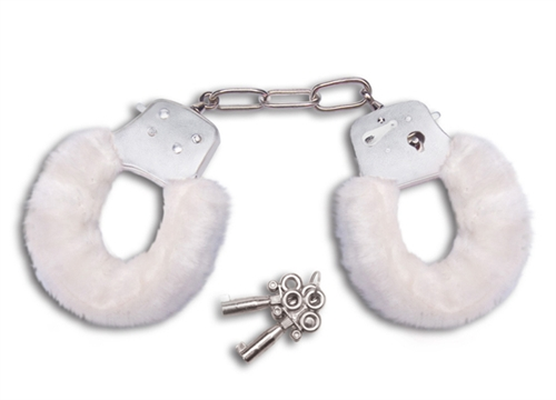 Lux Fetish Furry Love Cuffs White