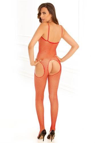 Rene Rofe Industrial Net Suspender Body Stocking Red