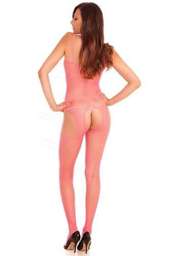 Rene Rofe Industrial Net Suspender Body Stocking Pink