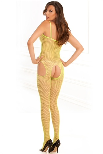 Rene Rofe Industrial Net Suspender Body Stocking Lime