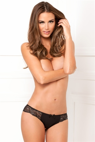 Rene Rofe Dirty Secrets Crotchless Lace Panty Black