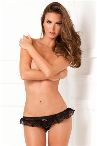 Rene Rofe Crotchless Lace Skirted Thong Black