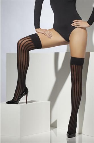 Fever Lingerie Striped Thigh High Black