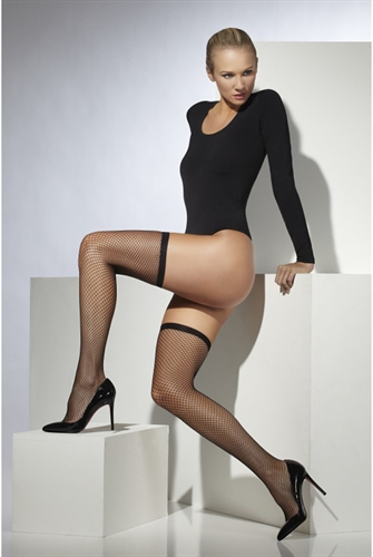 Fever Lingerie Lattice Net Stockings Black
