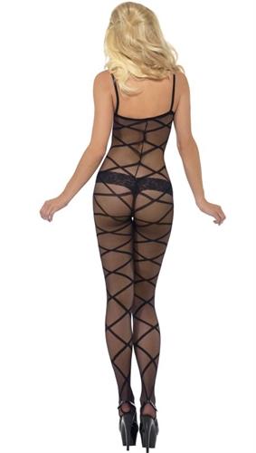 Fever Lingerie Sheer Patterned Crotchless Body Stocking Black