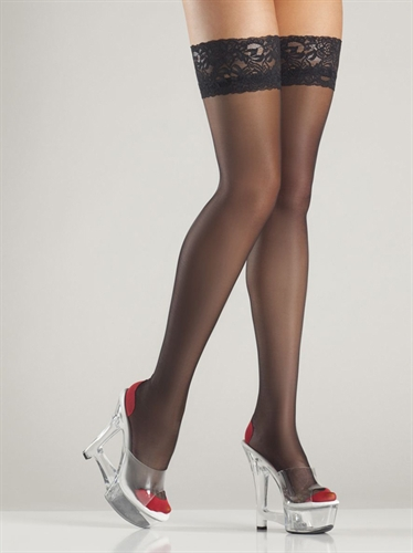 Be Wicked Cuban Heel Thigh Highs Black & Red