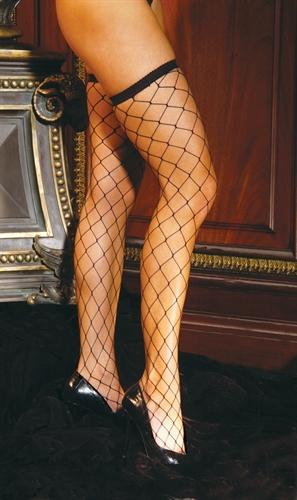 Elegant Moments Diamond Net Thigh High Black
