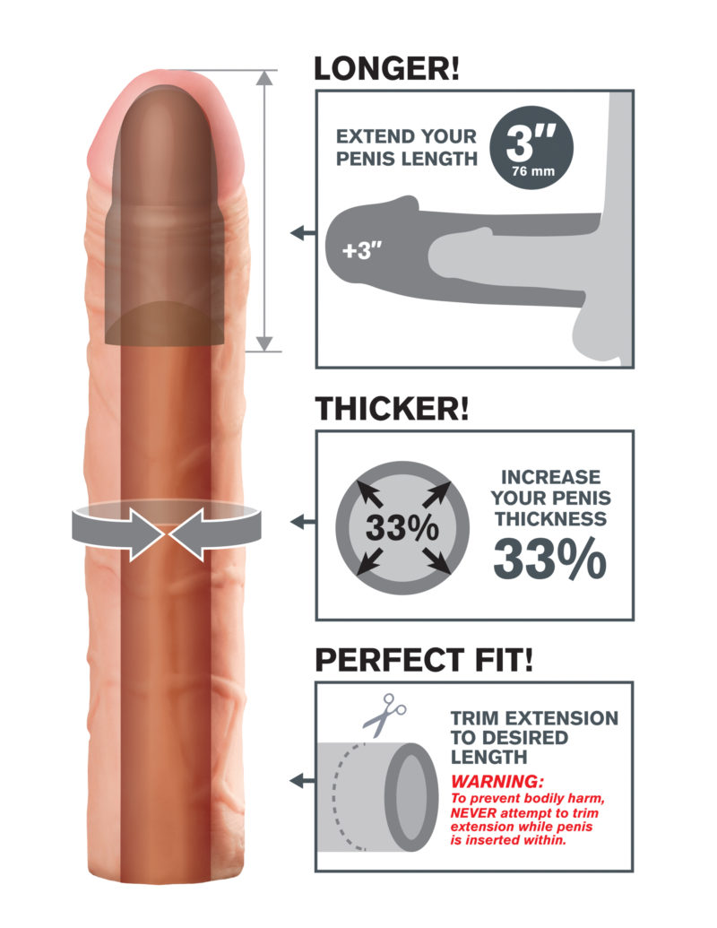 """Pipedream Fantasy X-Tensions Perfect 3"""" Extension Flesh"""