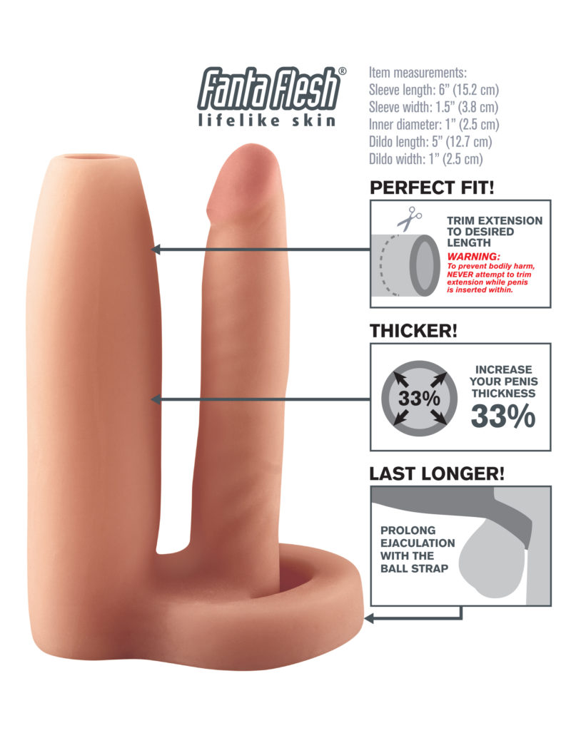 Pipedream Fantasy X-Tensions Double Trouble Girth Gainer Flesh