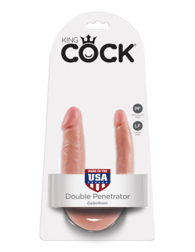 Pipedream King Cock U-Shaped Small Double Trouble Flesh