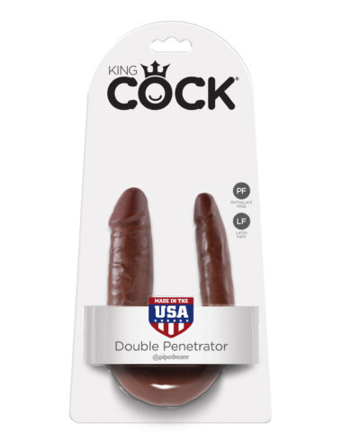 Pipedream King Cock U-Shaped Small Double Trouble Brown