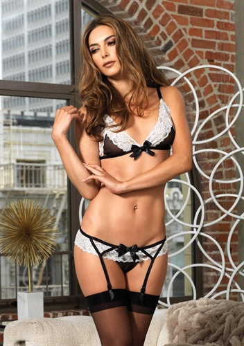 Leg Avenue 2 Piece Lace Trimmed Sheer Bra Top & Garter Panty
