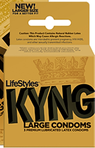 LifeStyles Kyng Gold Large 3 Pack Condoms