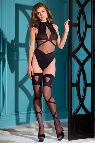 Be Wicked Woven Teddy & Stockings Set