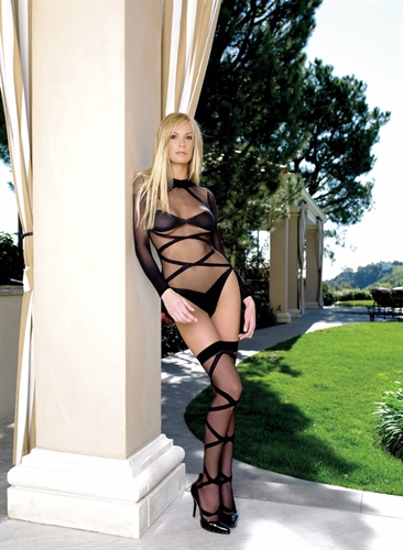Leg Avenue Criss Cross Teddy & Thigh Highs