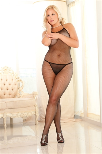 Rene Rofe Crotchless Halter Fishnet Body Stocking