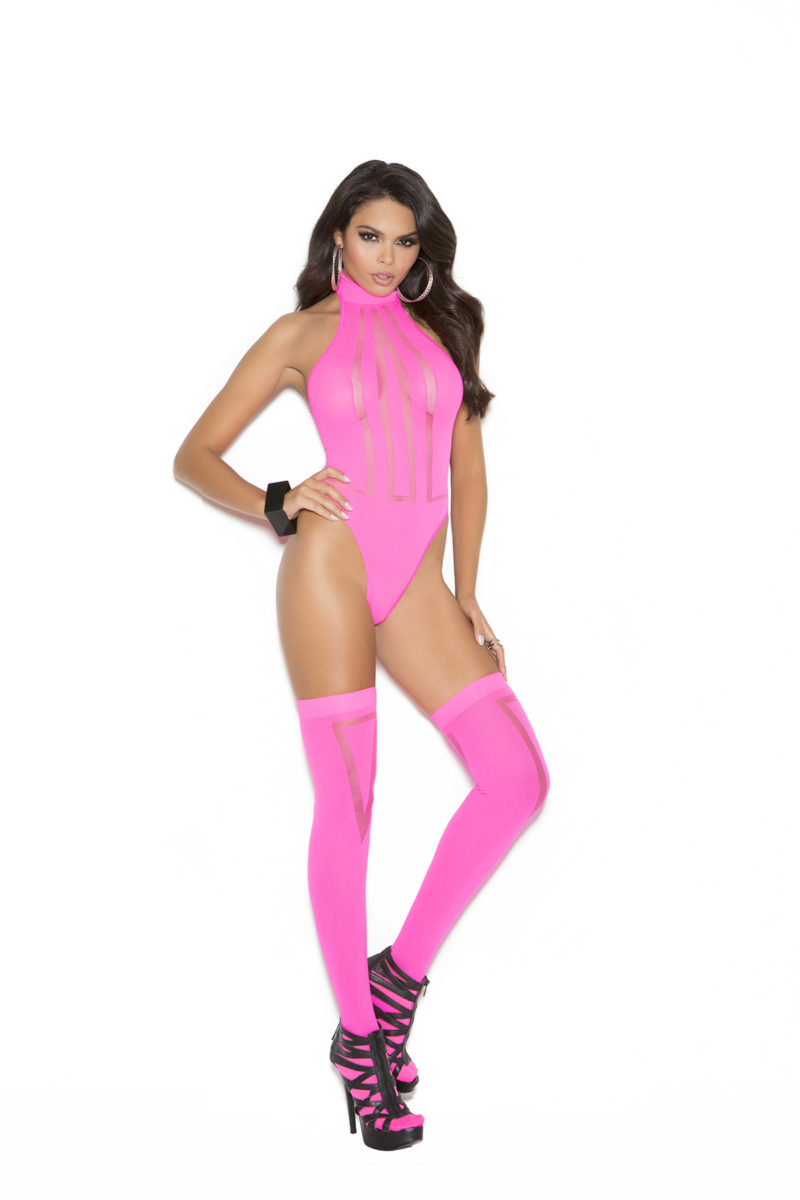 Elegant Moments Opaque Sheer Teddy & Stockings