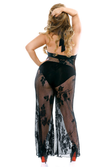 Fantasy Lingerie Curve Nicki Stretch Micro & Lace Halter Jumpsuit & Panty