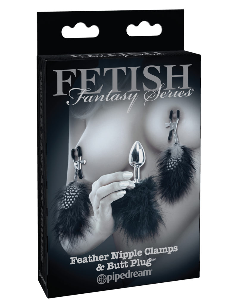 Pipedream Fetish Fantasy Limited Edition Feather Nipple Clamps & Butt Plug