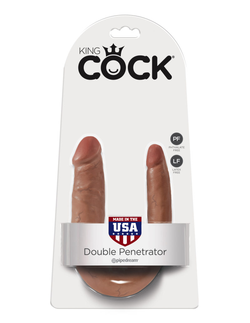 Pipedream King Cock U-Shaped Small Double Trouble Tan