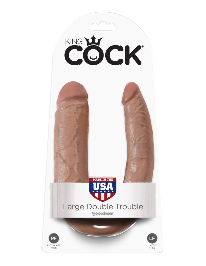 Pipedream King Cock U-Shaped Large Double Trouble Tan