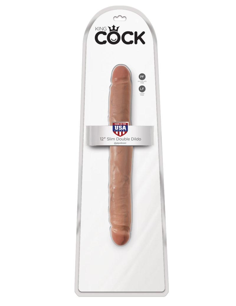 "Pipedream King Cock 12"" Slim Double Dildo Tan"