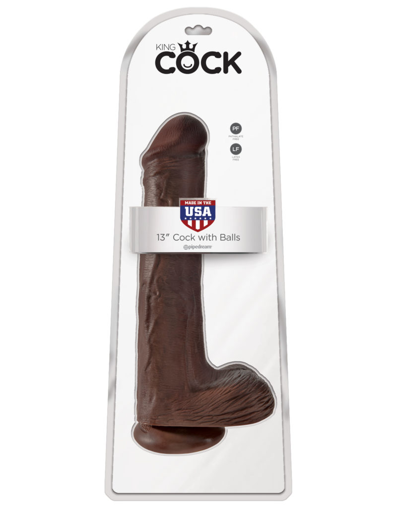 "Pipedream King Cock 13"" Cock With Balls Brown"