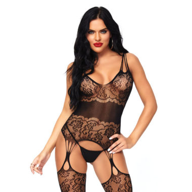 Strappy Rose Lace Suspender Bodystocking