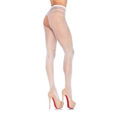 Crotchless White Fishnet Pantyhose