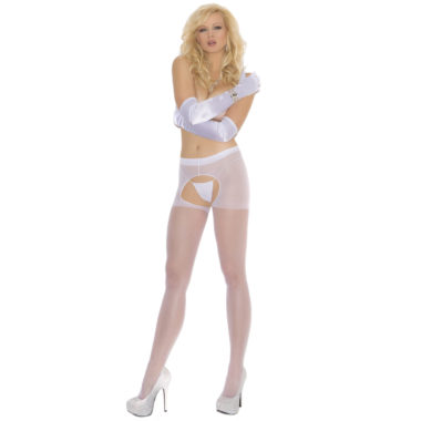 White Plus Size Sheer Crotchless Pantyhose