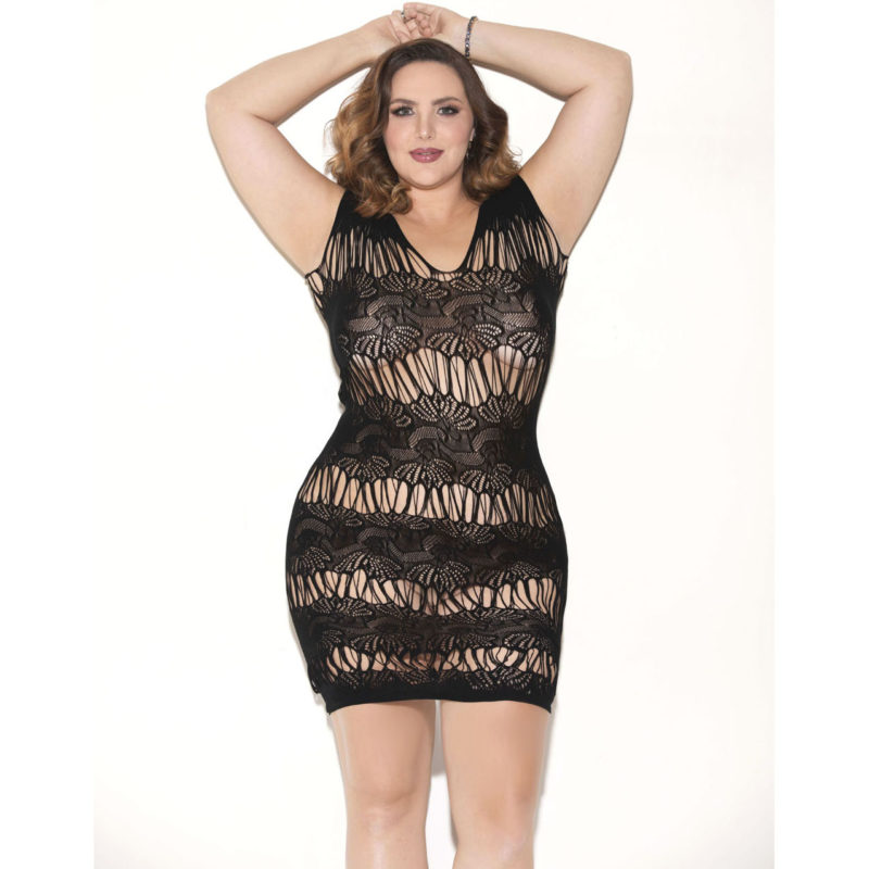 Floral Pattern Sleevless Queen Size Black Chemise