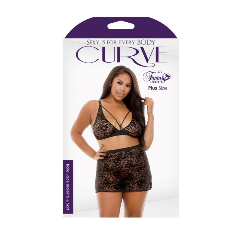 Curve Plus Size Kara Lace Bralette and Skirt
