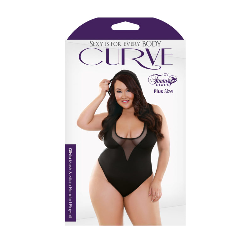 Curve Plus Size Olivia Mesh and Micro Hooded Playsuit