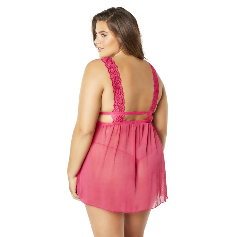 Mesh and Lace Frame Empire Babydoll With G-String