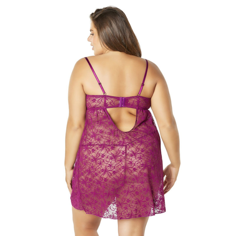 Lace Empire Babydoll With Functional Tie Shelf Cups G-String