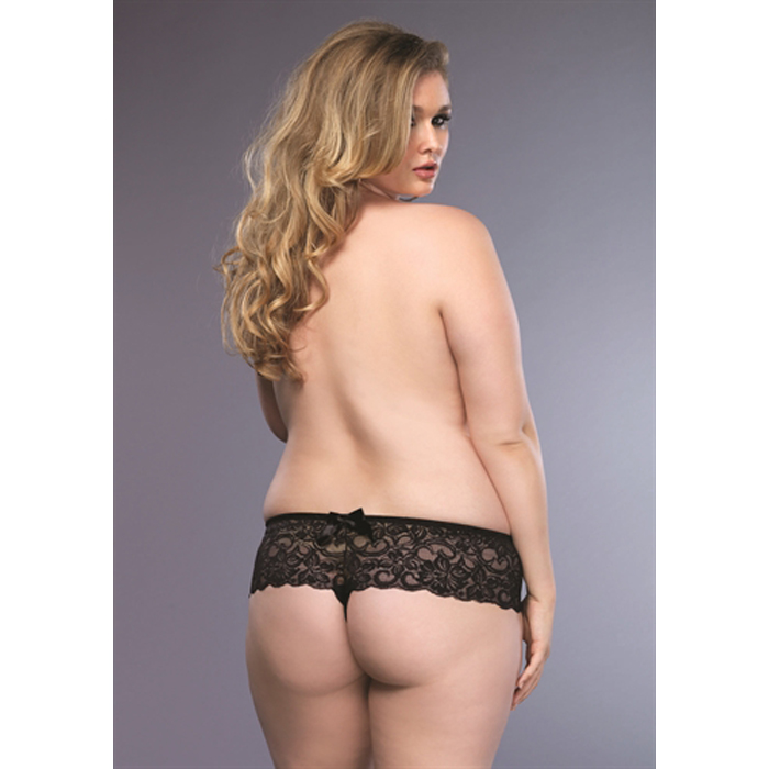 Plus Size Stretch Lace Open Crotch Thong