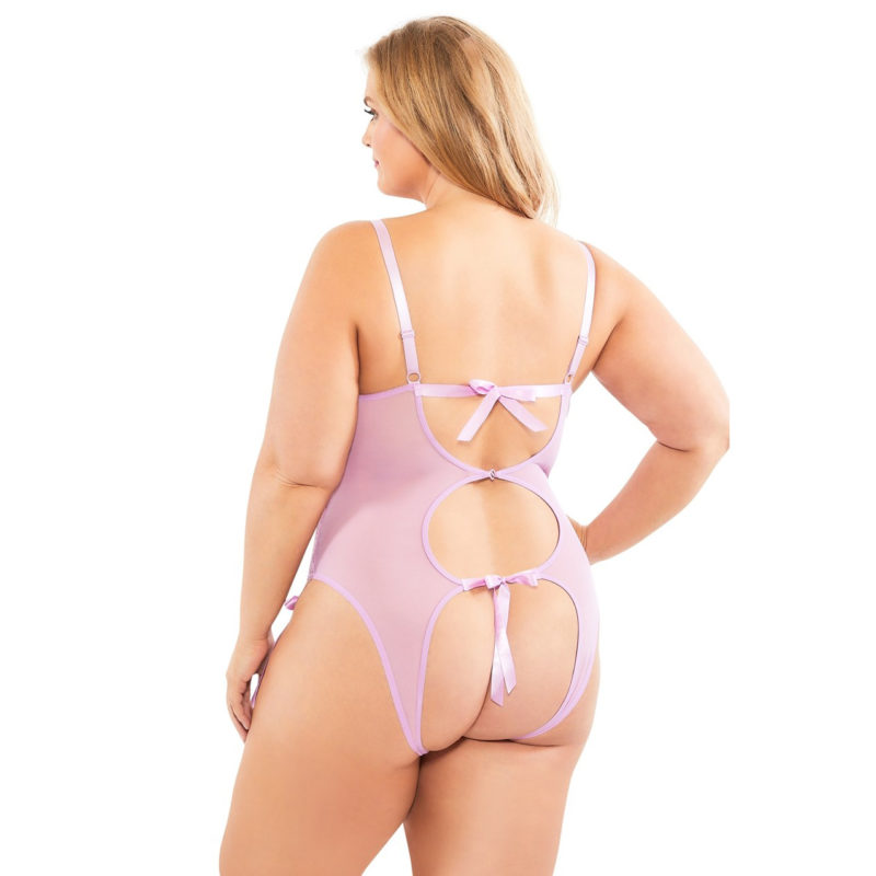 Functional Ties Lace Teddy With Open Back