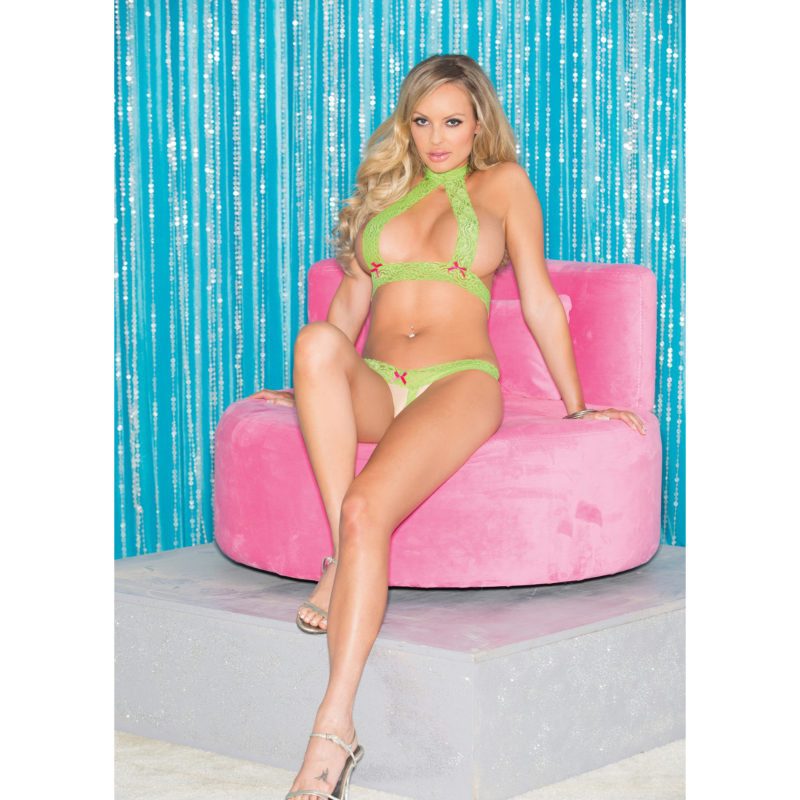 Neon Green Stretch Lace Sexy Open Set