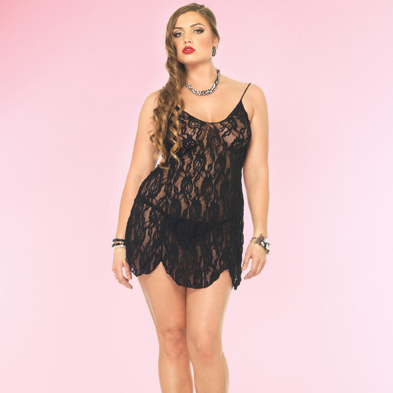 Black Queen Size Rose Lace Chemise and G-String